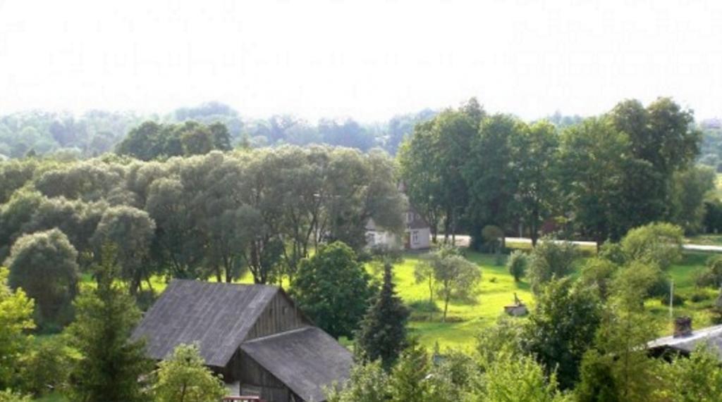 Skats uz Aknīstes luterāņu baznīcu un pieguļošo teritoriju no pakalna tās austrumu pusē. Foto: T.Bobinska, 2008.