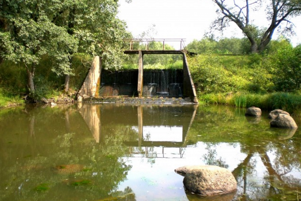 """Dambes. Bijušo ūdensdzirnavu """"Straume"""" aizsprosts un dambis. Foto: T.Bobinska, 2008.g."""