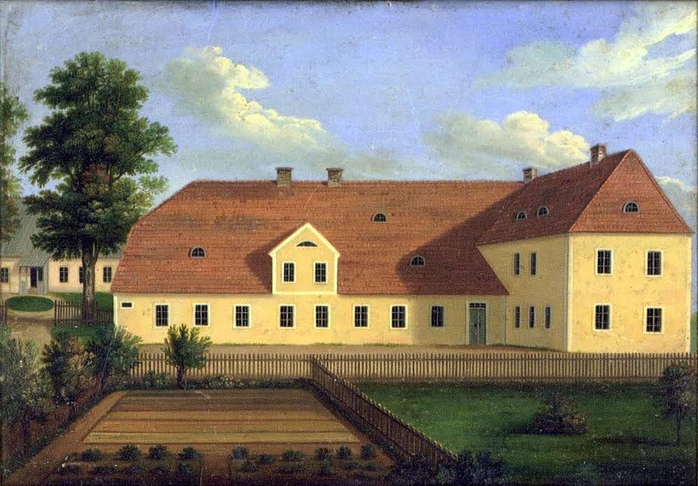 """Jaunveļķu meiteņu skola un hernhūtiešu diakonāts (dibenplānā pa kreisi) """"Jaunveļķos"""", Vaidavas pagastā. 19.gs. eļļas glezna."""