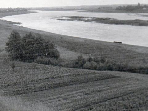 """Skats uz Cūku sēkli. Foto no F.Bobinska kolekcijas. Attēlam otrā pusē uzraksts: """"Cūku sēklis Daugavā pie Kābelēm. Atmiņai kaimiņienei Lidijai. Kābelēs 9.IX.79 Ervīns Rozentāls"""". Pats foto ir senāks par datēto uzrakstu."""