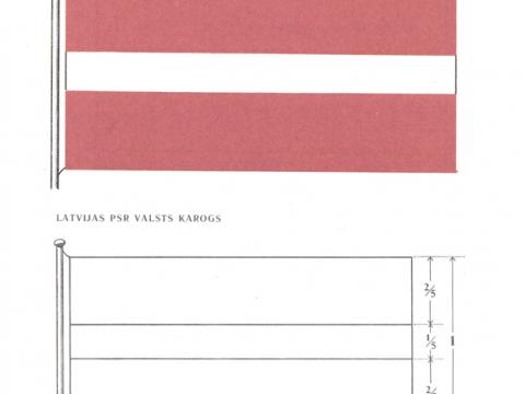 Attēls no 1990. gadā pieņemtā Nolikuma Par Latvijas Padomju Sociālistiskās Republikas valsts karogu. Avots : likumi.lv