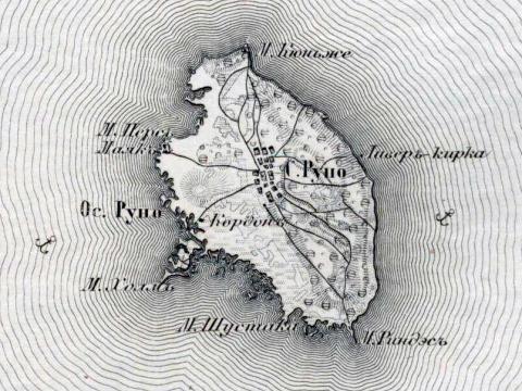Roņu sala 1855.g. kartē. Avots: http://entsyklopeedia.ee/article_eng/ruhnu_on_the_old_maps1