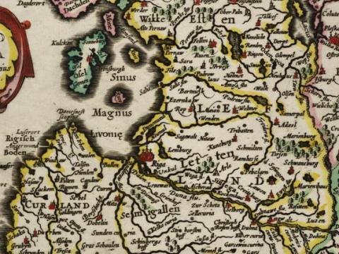 Livonijas zemju karte. G. Merkatora izdevums 1673.gadā.