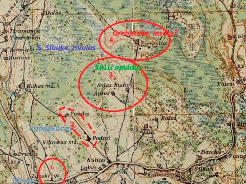 Maneginta lēnī minēto vietvārdu un objektu izvietojums Mālpils apkārtnē. Attēlojums Latvijas armijas 1930.g. topogrāfiskajā kartē.