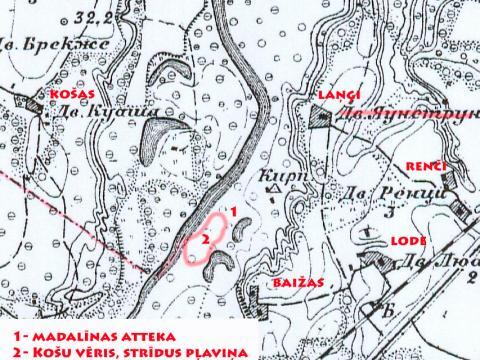 Krievijas impērijas vienas verstes (1:42000) karte. 1915.g. izdevums. 25. kvadrāta fragments.