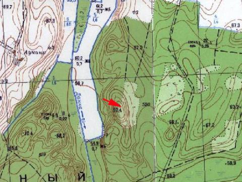 Kaukalna atrašanās vieta PSRS armijas ģenerālštāba topogrāfiskajā kartē. M 1: 10 000.